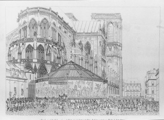 Engraving illustration tent structure Cathedral of Notre Dame & Au0026A | Engraving illustration tent structure Cathedral of Notre Dame