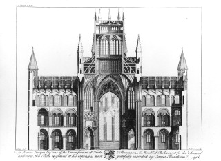 a a cross section cathedral church